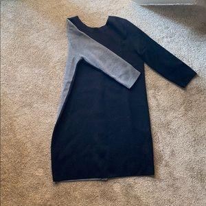 Black/gray color block COS sweater dress